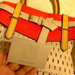 Reed Krakoff orange and beige purse